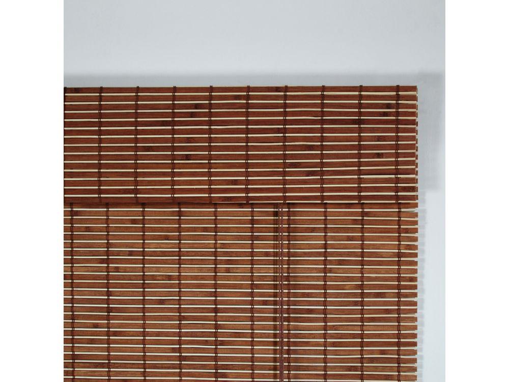 rollo holz mit seitenzug holzrollo f r fenster und t r farbe braun l nge 170 ebay. Black Bedroom Furniture Sets. Home Design Ideas