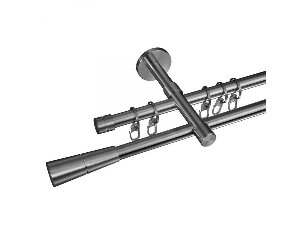liedeco gardinenstange concav 16 mm stilgarnitur aus edelstahl 2 l ufig 120 cm kaufen. Black Bedroom Furniture Sets. Home Design Ideas