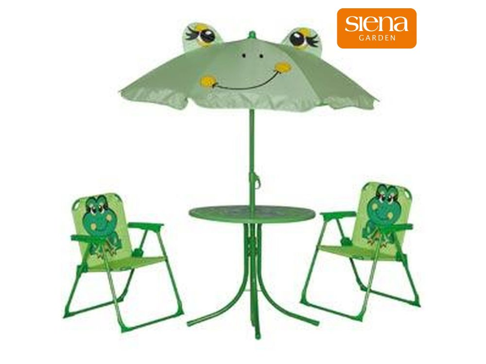 siena garden gartenm belset f r kinder 2 st hle 1 tisch frosch gr n kaufen. Black Bedroom Furniture Sets. Home Design Ideas