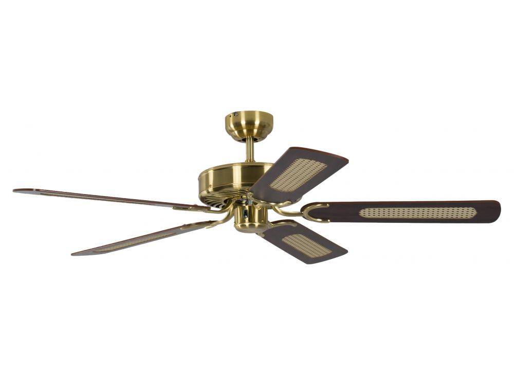 Ventilator Potkuri Farbe Gehäuse:Messing seidenmatt Farbe Flügel:Mahagonie-Rattan