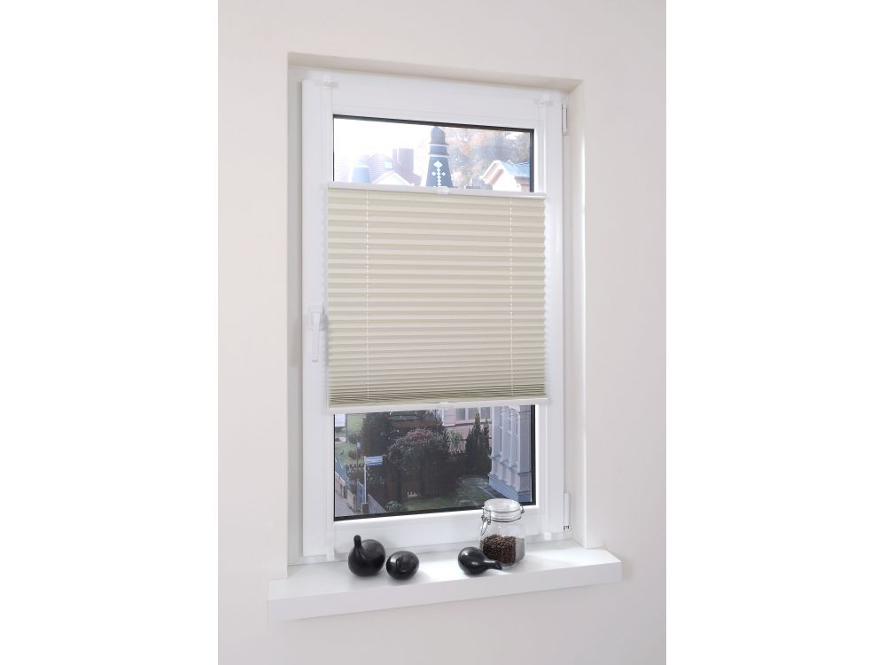 liedeco klemmfix thermo plissee verspannt l nge 130 cm beige 75 cm kaufen. Black Bedroom Furniture Sets. Home Design Ideas