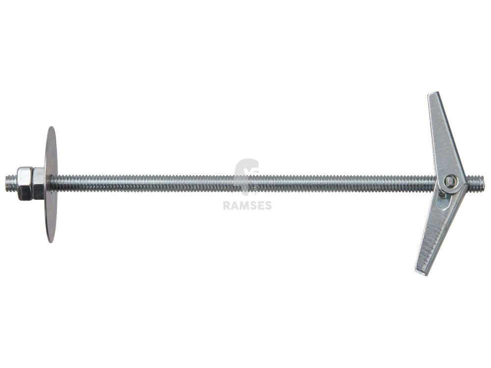 2 Stück Federklappdübel mit Gewindestange M4 x 90mm Eisen verzinkt Kippdübel